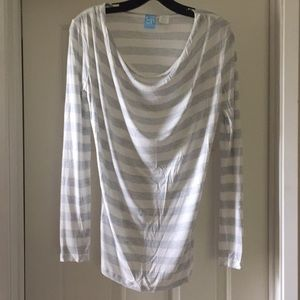 Barneys COOP Gray & White Striped Long Sleeve Top